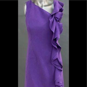 Teri Jon sheath dress with ruffle.